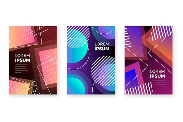 Colourful shapes covers for flyers template