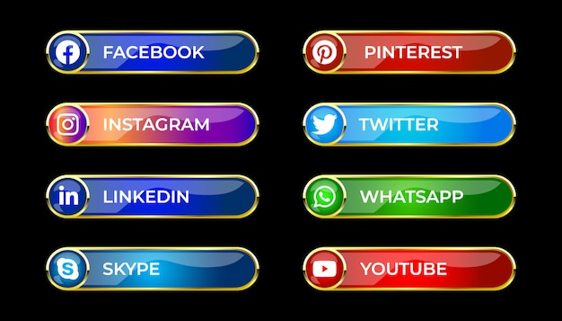 Colourful shiny 3d social media gradient button set with round icon