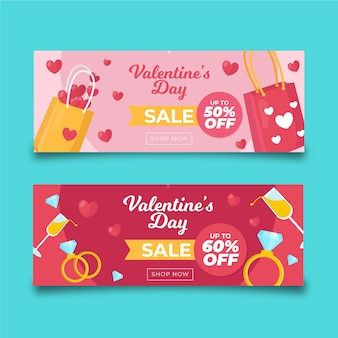 Colourful shopping bags valentine's day sale banners
