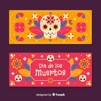 Colourful skulls for flat día de muertos banners