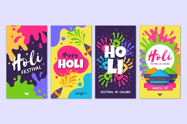 Colourful social media instagram stories with holi festival