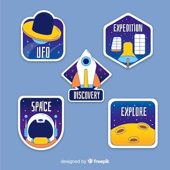 Пакет красочных космических стикеров