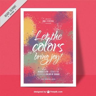 Colourful splashes happy holi poster