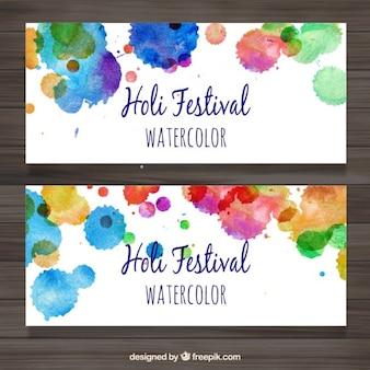 Colourful splashes holi banners
