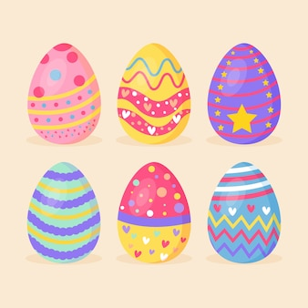 Colourful spring painted eggs flat design set