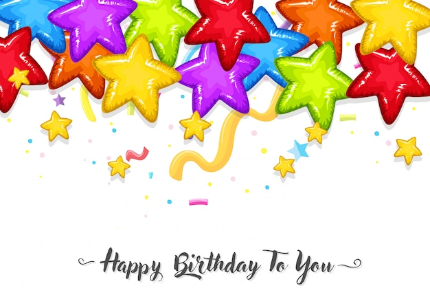 Colourful stars birthday template