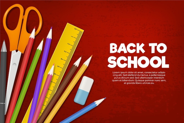 Colourful stationery items back to school background