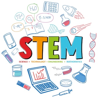 Colourful stem education logo with learning elements