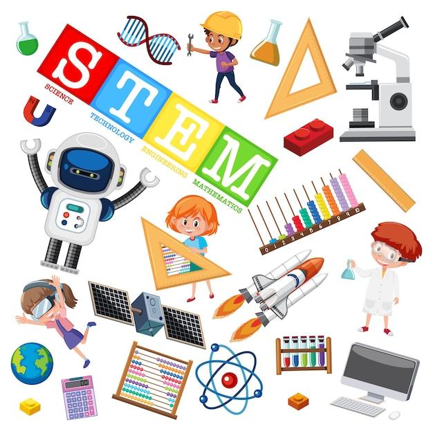 学習要素を備えたカラフルなstem教育ロゴ