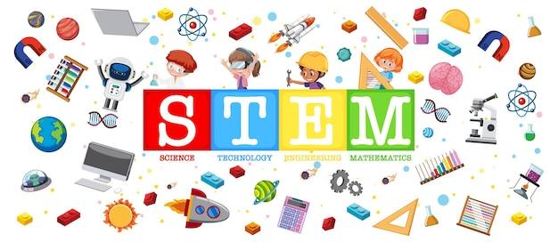 학습 요소가 있는 다채로운 stem 교육 로고