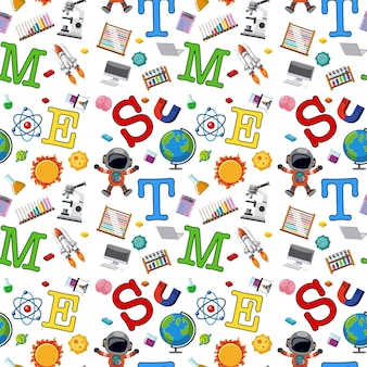 Colourful stem education seamless background