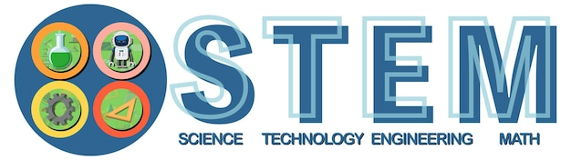 Colourful stem education text icon