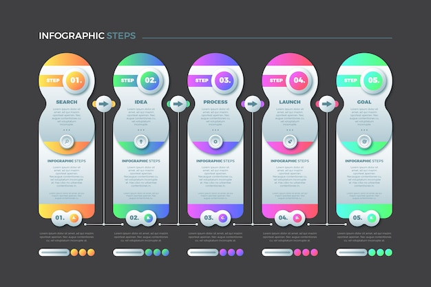 Colourful steps infographic concept collection
