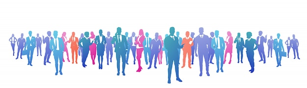 Colourful success business people silhouette, group of diversity businessman and businesswoman successful team concept banner