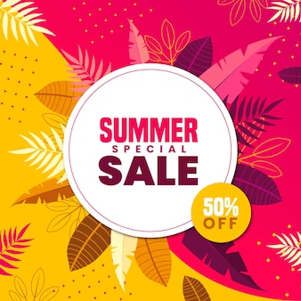 Colourful summer sale with leaves