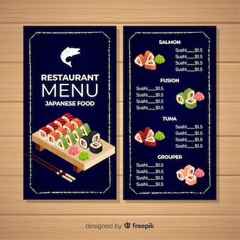 Colourful sushi restaurant menu template