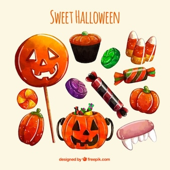 Colourful sweets to celebrate halloween Free Vector