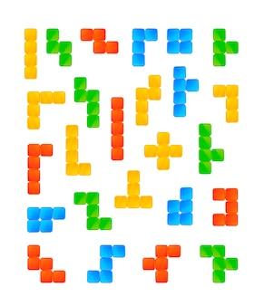Colourful tetris game pieces