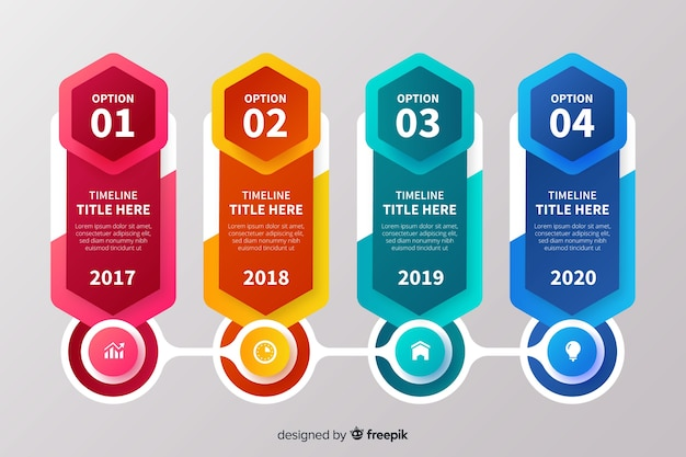 Colourful timeline infographic elements
