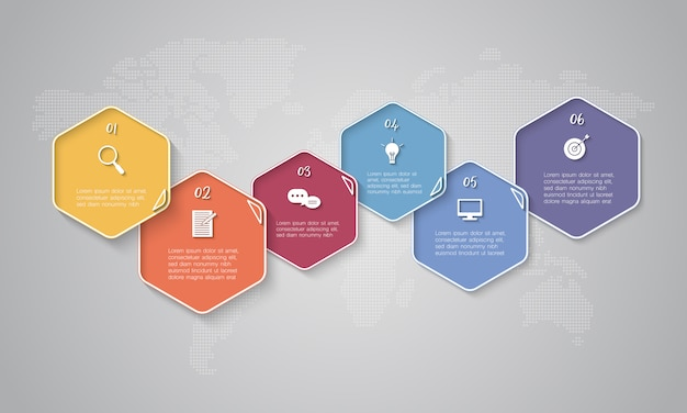 Colourful timeline infographic with text boxes on world map background for business, start up or technology