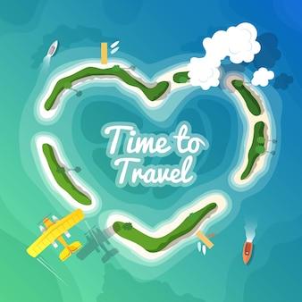 Иллюстрация красочные путешествия плоские для вашего бизнеса, веб-сайтов и т. д. качественная иллюстрация дизайна, элементы и концепции. время путешествовать. отдых в раю. вид сверху.
