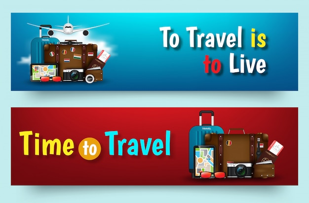 Colourful travel vector flat banner set for your business