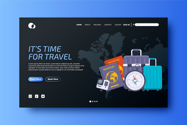 Colourful travelling landing page template