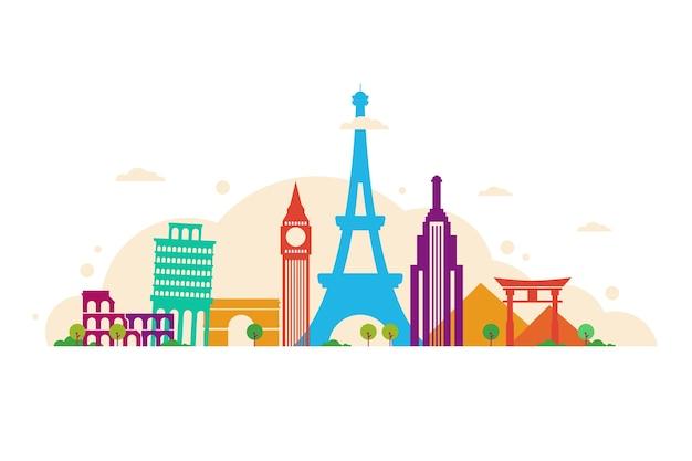 Colourful travelling landmarks skyline