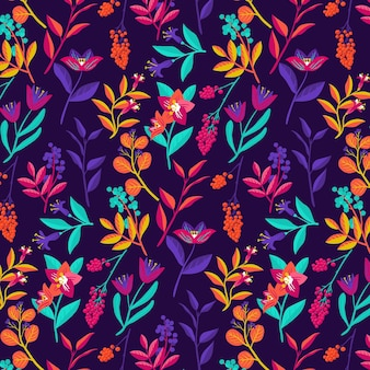 Colourful tropical floral pattern