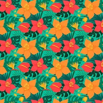 カラフルな熱帯の花柄