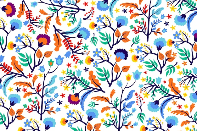 Colourful tropical flowers and leaves background