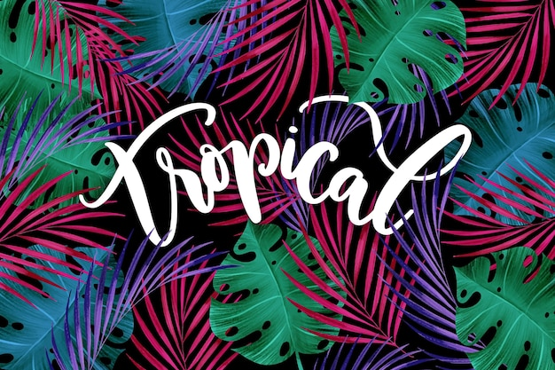 Colourful tropical leaves lettering