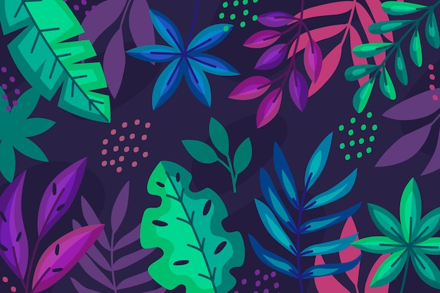 Colourful tropical plants on dark background