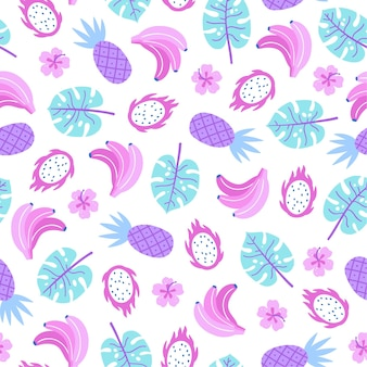 Colourful tropical plants and fruits seamless pattern