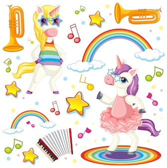 Tema musicale unicorno colorato