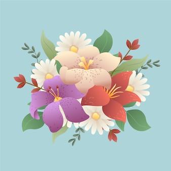 Colourful vintage bouquet of flowers