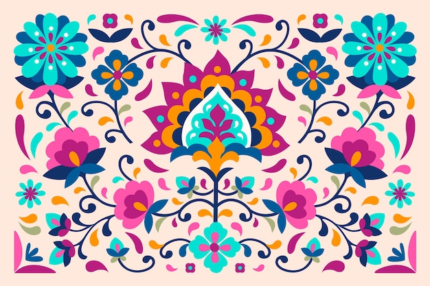 Colourful wallpaper with mexican and exotic flowers