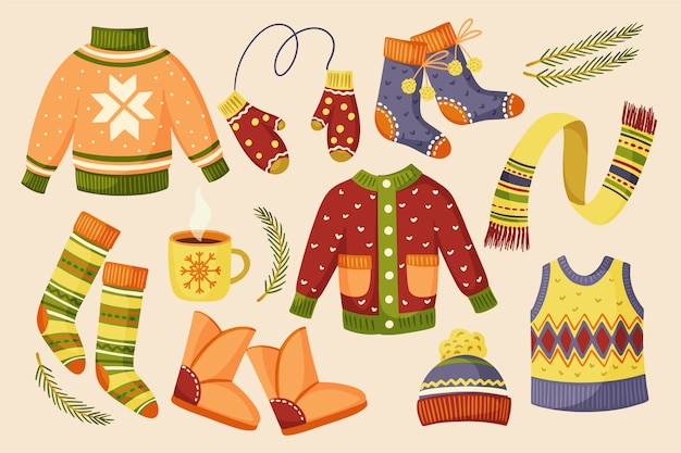 Разноцветная теплая зимняя одежда и аксессуары