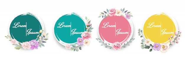 Colourful watercolor floral frames for invitation and many more