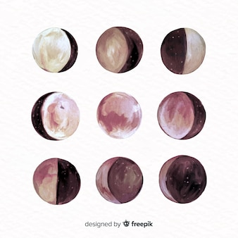 Colourful watercolor moon collection