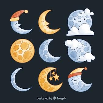 Коллекция красочных акварельных луны