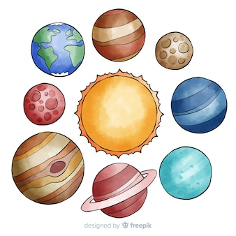 Colourful watercolor planet collection