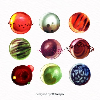 Colourful watercolor planets collection