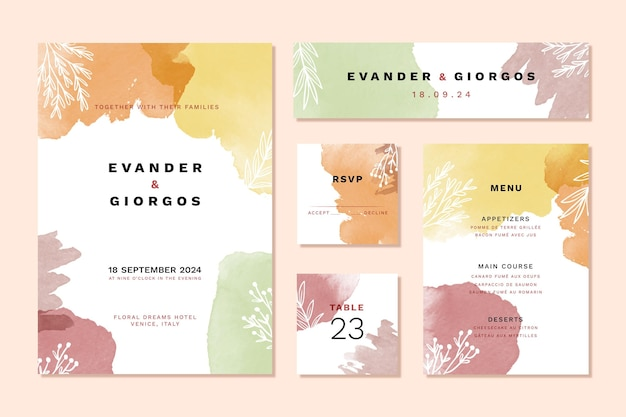 Colourful watercolor wedding stationery items