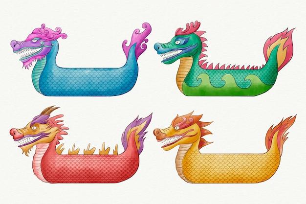 다채로운 수채화 용 보트 컬렉션
