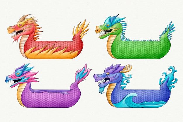 다채로운 수채화 용 보트 세트