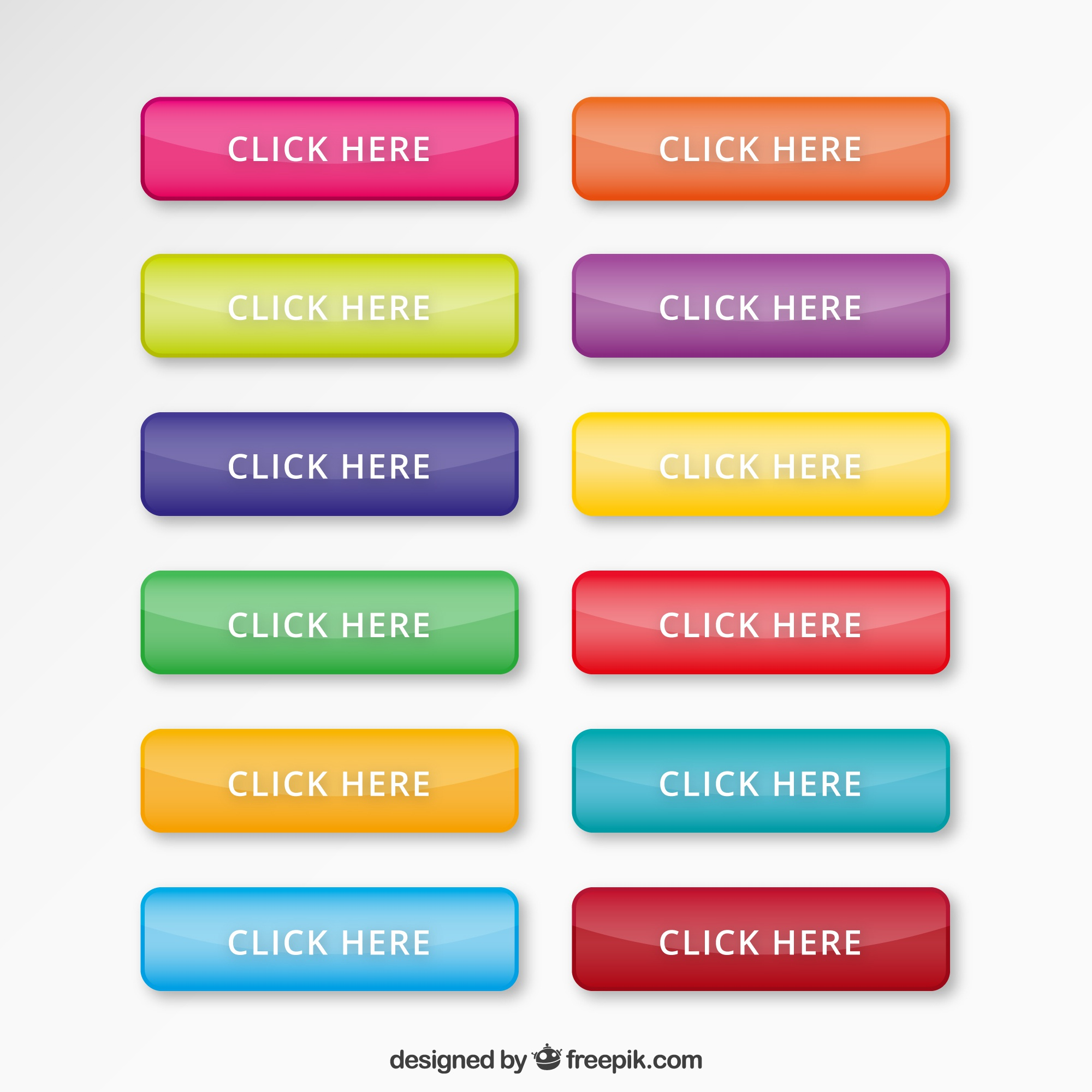Colourful web buttons set