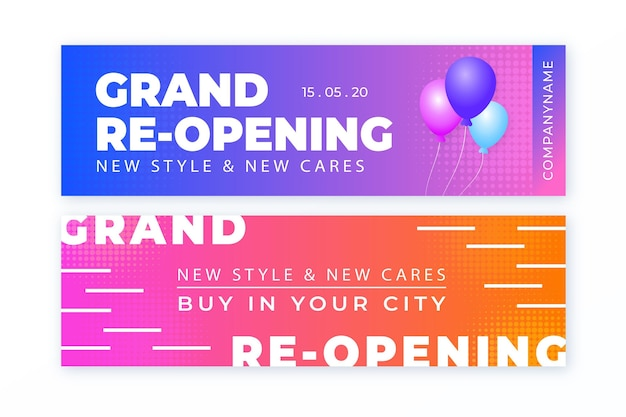 Colourful with balloons grand re-opening banner