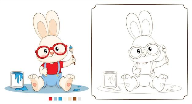 Colring 책 토끼 또는 토끼 화가 브러시를 들고.