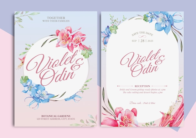 Columbine floral watercolor illustration wedding invitation card with text layout